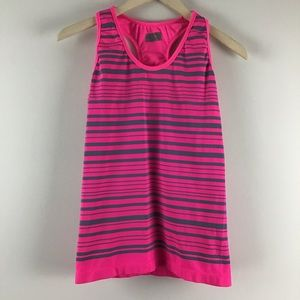 Athleta Racerback Pink Striped Athletic Tank Top